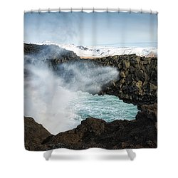 Shower Curtain featuring the photograph Dyrholaey Rock Arch Iceland by Matthias Hauser