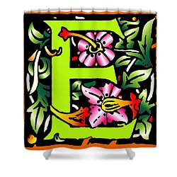E In Green Shower Curtain by Kathleen Sepulveda