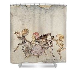 Each One, Tripping On His Toe, Will Be Here With Mop And Mow Shower Curtain by Arthur Rackham
