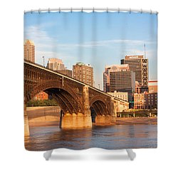 Eads Bridge At St Louis Shower Curtain by Semmick Photo