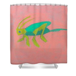 Shower Curtain featuring the pastel Eager Grasshopper by Artists With Autism Inc