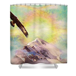 Eagle And Fire Rainbow Over Mt Tetnuldi Caucasus Shower Curtain
