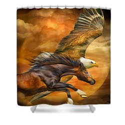 Shower Curtain featuring the mixed media Eagle And Horse - Spirits Of The Wind by Carol Cavalaris