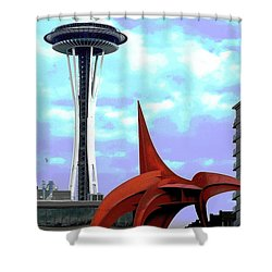 Shower Curtain featuring the photograph Eagle And Space Needle Seattle by Yulia Kazansky