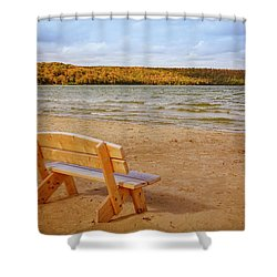 Shower Curtain featuring the photograph Eagle Harbor Summer Is Over by Heidi Hermes