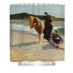 Shower Curtain featuring the painting Eagle Head, Manchester, Massachusetts - 1870 by Winslow Homer