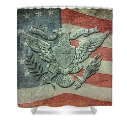 Shower Curtain featuring the digital art Eagle On American Flag by Randy Steele