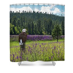 Eagle On Fence Post Shower Curtain