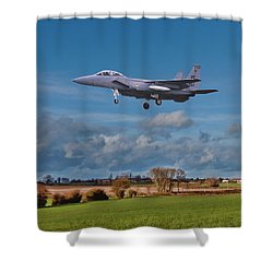 Shower Curtain featuring the photograph Eagle On Finals by Paul Gulliver