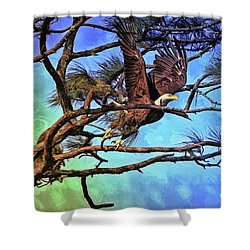 Shower Curtain featuring the painting Eagle Series 2 by Deborah Benoit