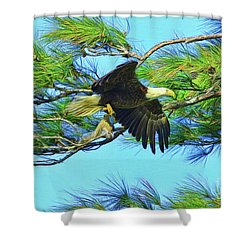 Shower Curtain featuring the painting Eagle Series Food by Deborah Benoit
