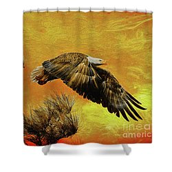 Shower Curtain featuring the painting Eagle Series Strength by Deborah Benoit