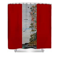 Eagles Point Shower Curtain by Marilyn  McNish