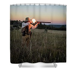 Early 1800's Flintlock Muzzleloader Blast Shower Curtain by Nadja Rider