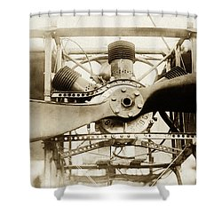 Shower Curtain featuring the photograph Early Airplane Propeller Engine by Suzanne Powers