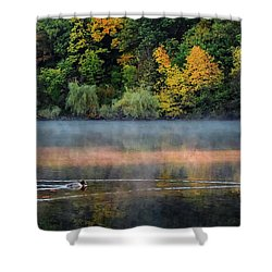 Early Autumn Morning At Longfellow Pond Shower Curtain