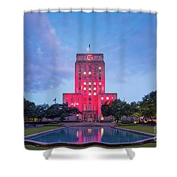 Early Dawn Architectural Photograph Of Houston City Hall And Hermann Square - Downtown Houston Texas Shower Curtain