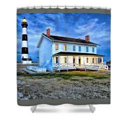 Early Evening Lighthouse Shower Curtain by Marion Johnson