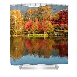 Early Fall At Lafarge Lake Shower Curtain by Rod Jellison