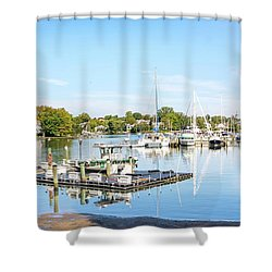 Shower Curtain featuring the photograph Early Fall Day On Spa Creek by Charles Kraus