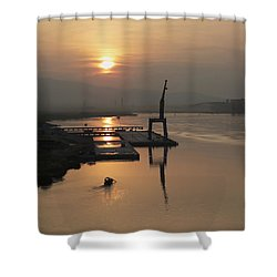 Shower Curtain featuring the photograph Early Hour On The River by Lucinda Walter