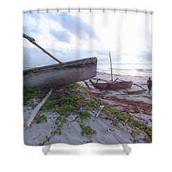 early morning African fisherman and wooden dhows Shower Curtain