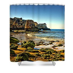 Shower Curtain featuring the photograph Early Morning Alvor Beach by Brian Tarr