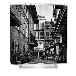 Early Morning At Pirate Alley In Black And White Shower Curtain