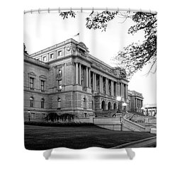 Early Morning At The Library Of Congress In Black And White Shower Curtain