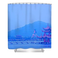 Shower Curtain featuring the photograph Early Morning At The Lotus Lake by Yali Shi