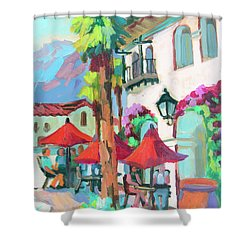 Shower Curtain featuring the painting Early Morning Coffee In Old Town La Quinta 2 by Diane McClary