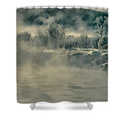 Shower Curtain featuring the photograph Early Morning Frost On The River by Don Schwartz