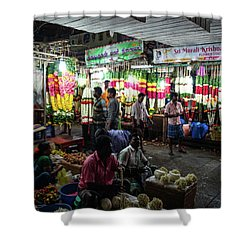 Shower Curtain featuring the photograph Early Morning Koyambedu Flower Market India by Mike Reid