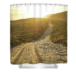 Early Morning Light On 4wd Sand Track Shower Curtain