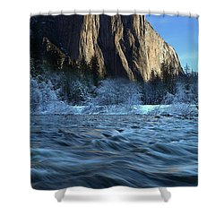 Early Morning Light On El Capitan During Winter At Yosemite National Park Shower Curtain by Jetson Nguyen