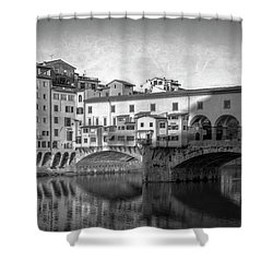 Shower Curtain featuring the photograph Early Morning Ponte Vecchio Florence Italy by Joan Carroll