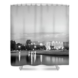 Early Morning Reflection In Washington D.c. Black And White Shower Curtain