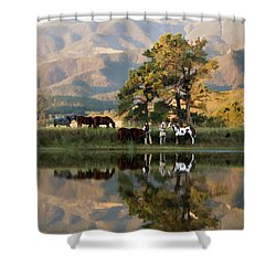 Early Morning Rendezvous Shower Curtain by Nadja Rider