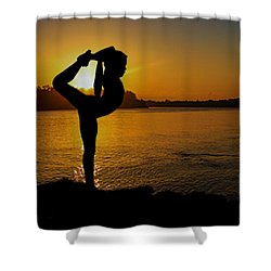 Early Morning Exercise Shower Curtain by Robert Hebert