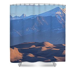 Early Morning Sand Dunes And Snow Covered Peaks Shower Curtain by James BO Insogna