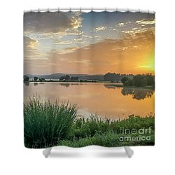 Early Morning Sunrise On The Lake Shower Curtain
