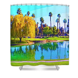 Early Morning Tee Time Shower Curtain by Dominic Piperata