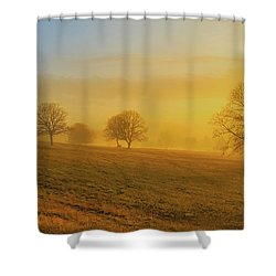 Shower Curtain featuring the digital art Early Morning Winter Fog by Randy Steele