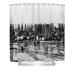 Early Oil Field Shower Curtain by Granger