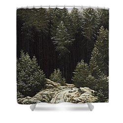 Early Snow Shower Curtain by Caspar David Friedrich