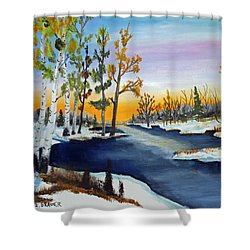 Early Snow Fall Shower Curtain by Jack G Brauer