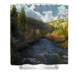 Early Spring Delores River Shower Curtain by Annie Gibbons