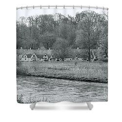 Early Spring In England Black And White Shower Curtain