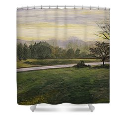 Shower Curtain featuring the painting Early Spring On Ernie Lane by Ron Richard Baviello