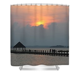 Shower Curtain featuring the photograph Early Sunset Over The Gazebo by Robert Banach